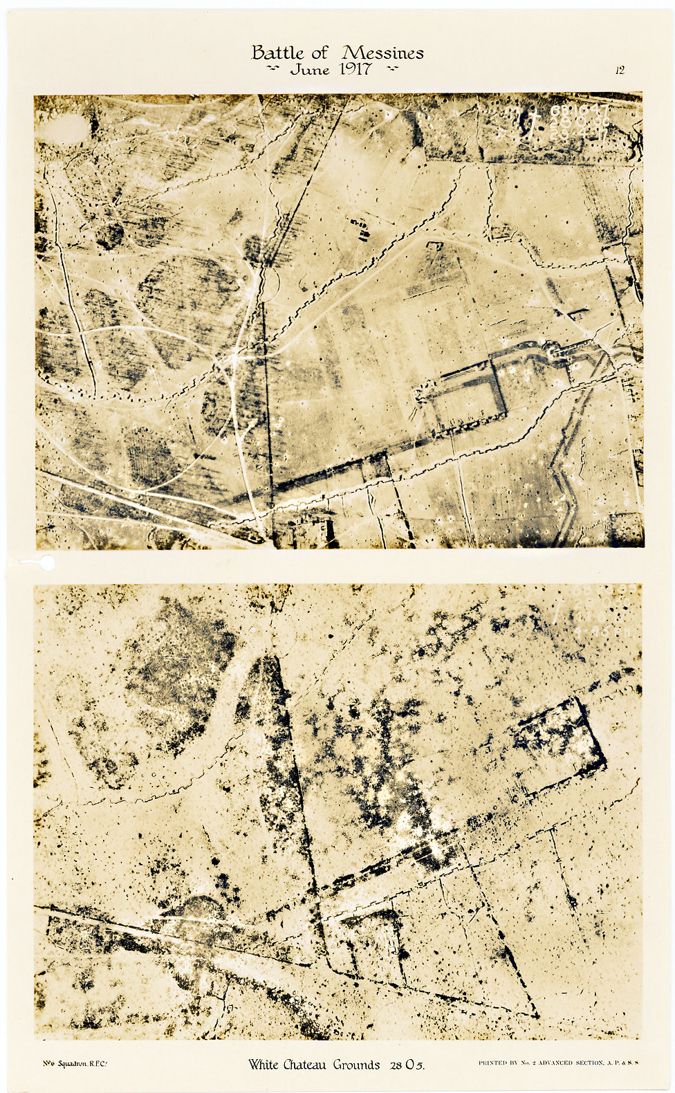 6 Squadron Aerial photos of the White Chateau at Hollebeke, taken before and after the Battle of Messines, 1917