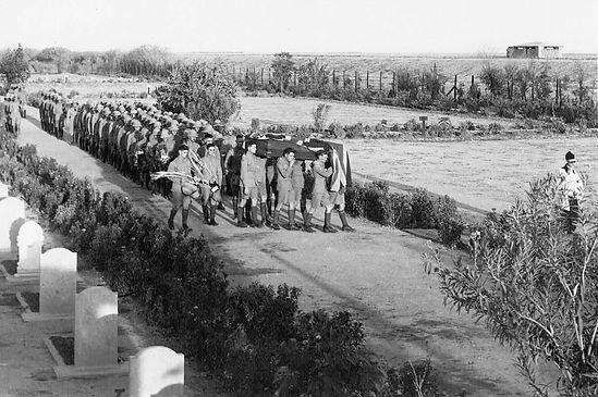 Funeral procession at Hinaidi, Baghdad, for AC1 David Oldfield, RAF Aircraft Depot, Baghdad