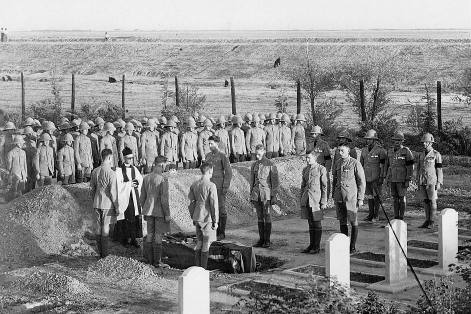 Coffin of AC1 David Oldfield being lowered into the grave at Hinaidi RAF Peace Cemetery, 1930