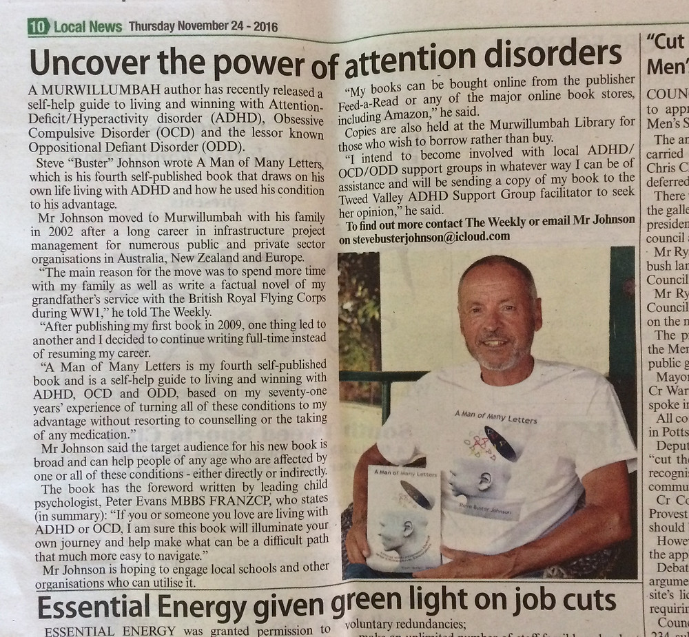 Steve Buster Johnson and his new book A Man of Many Letters - winning at life with ADHD, OCD and ODD