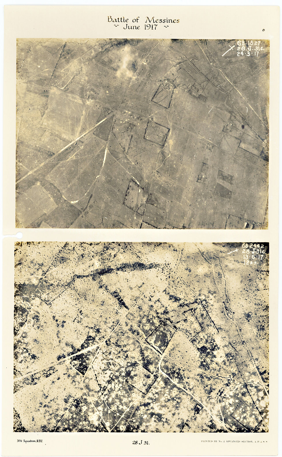 6 Squadron aerial photographs east of Battle Wood, before and after the Battle of Messines in June 1917