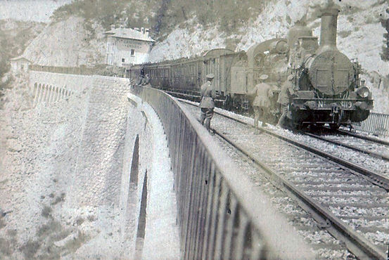 The train containing 6 Squadron men and equipment approaching the port of Marseilles