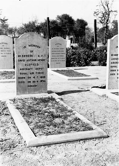 This is the original headstone for AC1 David Arthur Henry Oldfield, RAF Aircraft Depot, Baghdad. He was buried at Ma'Asker Al Raschid RAF Cemetery in 1930