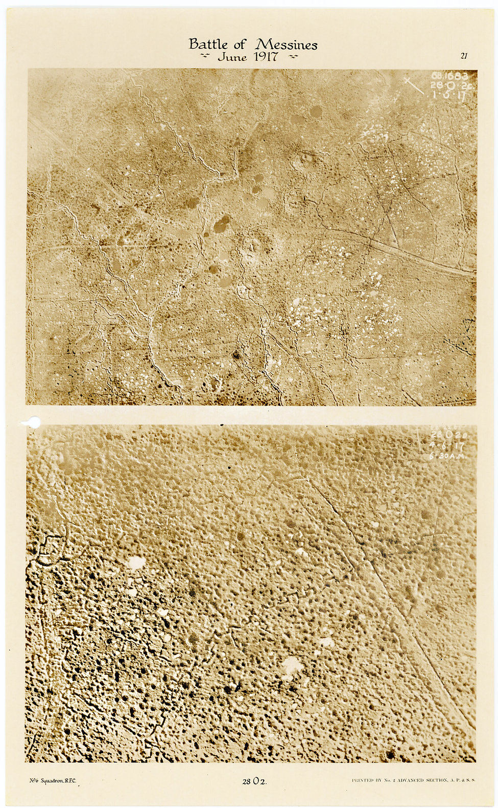 6 Squadron aerial photos of St Eloi South, taken by 6 Squadron before and after the pre-bombardment at Battle of Messines, 1917
