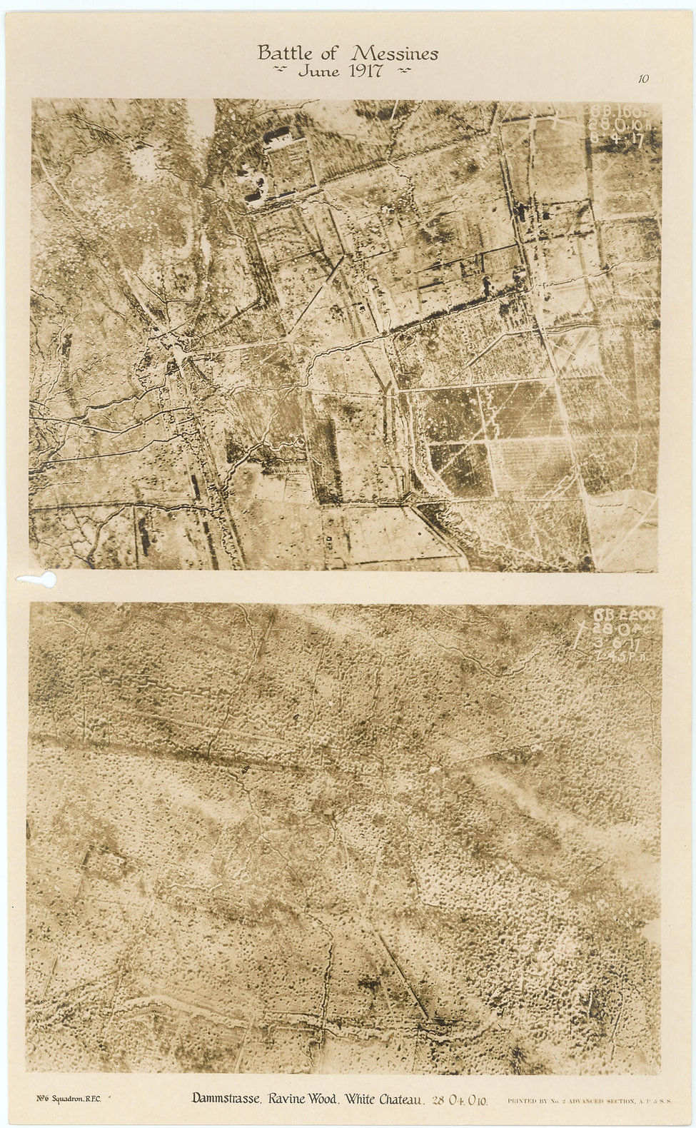 Aerial photos of Dammstrasse, Ravine Wood and the White Chateau near Palinbeek, taken by a 6 Squadron RE8 before and after the pre bombardment of the Battle of Messines, 1917