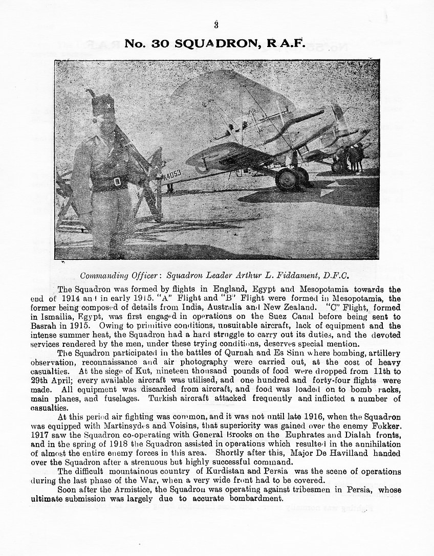 Brief history of 30 Squadron RAF, from its formation in 1914 until it was stationed at RAF Hinaidi