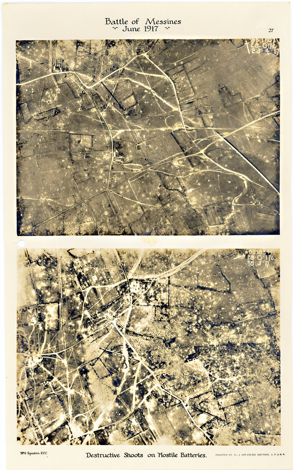6 Squadron aerial photos of destructive shoot near Oastoor Blankestraat, taken by 6 Squadron a few weeks before the Battle of Messines, 1917