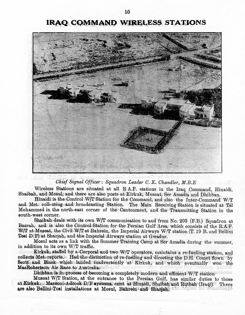 Brief history of the Iraq Command Wireless Stations operating in 1935, with Hinaidi the Control W/T Station