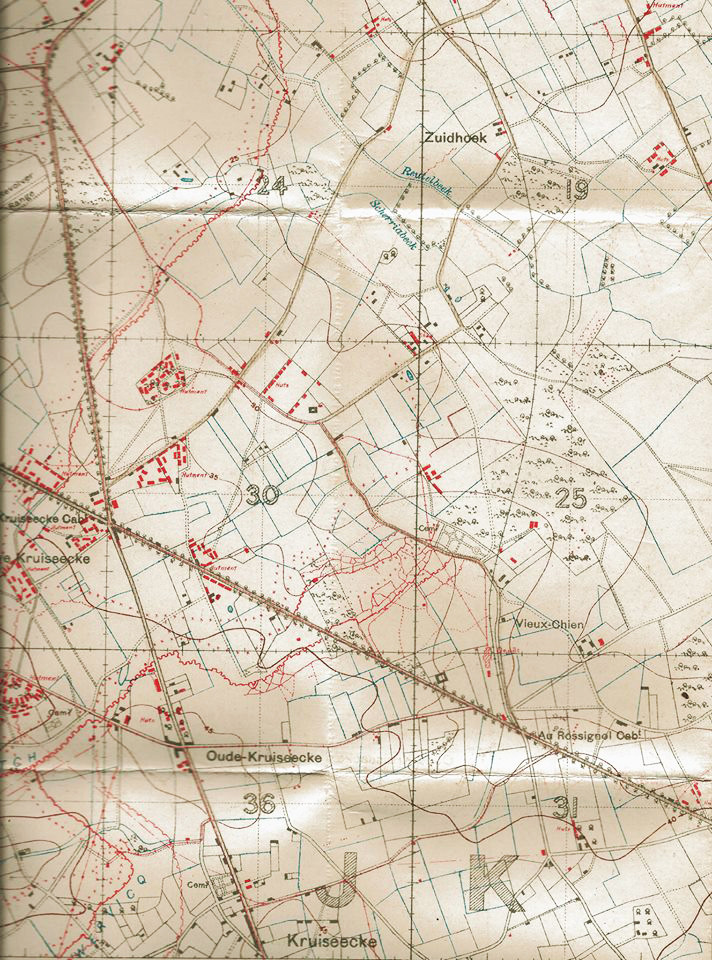 The location of Deimlingseck on a WW1 army map, showing the map grid of 28.J.30.c.01.80