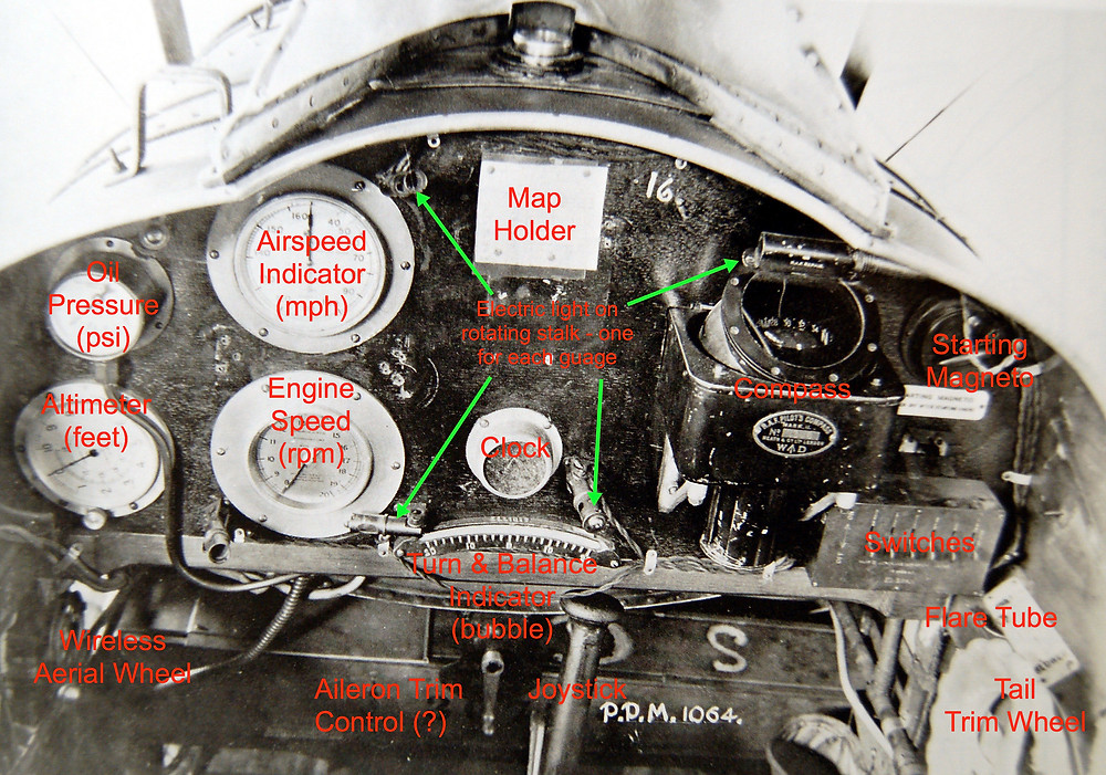 Royal Aircraft Factory RE8 cockpit instruments identified