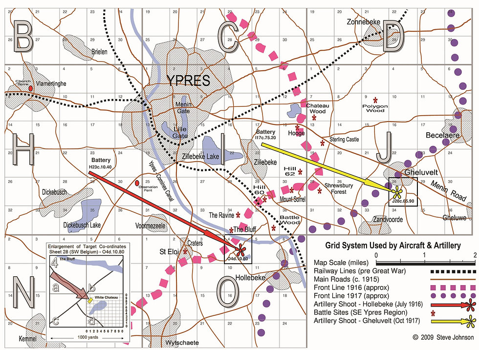 Mapping grid System used by Aircraft and artillery in WW1, with two shoots tha were carried ot by 6 Squadron