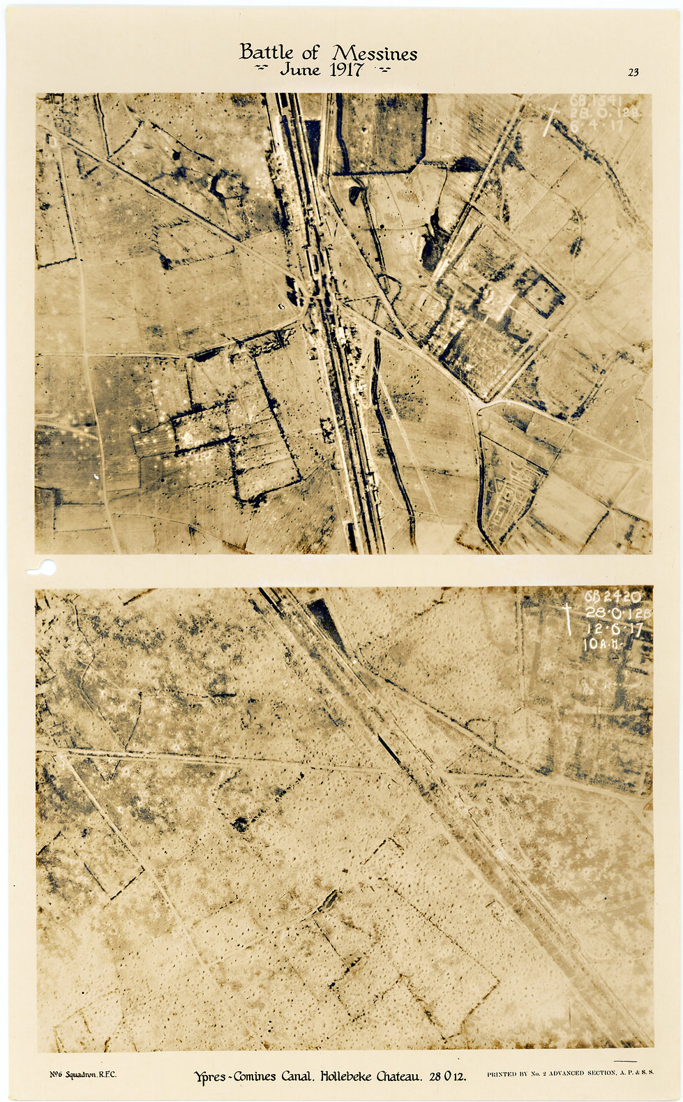 6 Squadron aerial photos of the White Chateau near Hollebeke, taken by 6 Squadron before and after the Battle of Messines, 1917