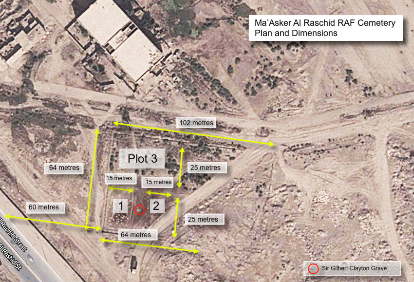 Location and dimensions of the Hinaidi RAF Peace Cemetery - now known as Ma'Asker Al Raschid RAF Cemetery