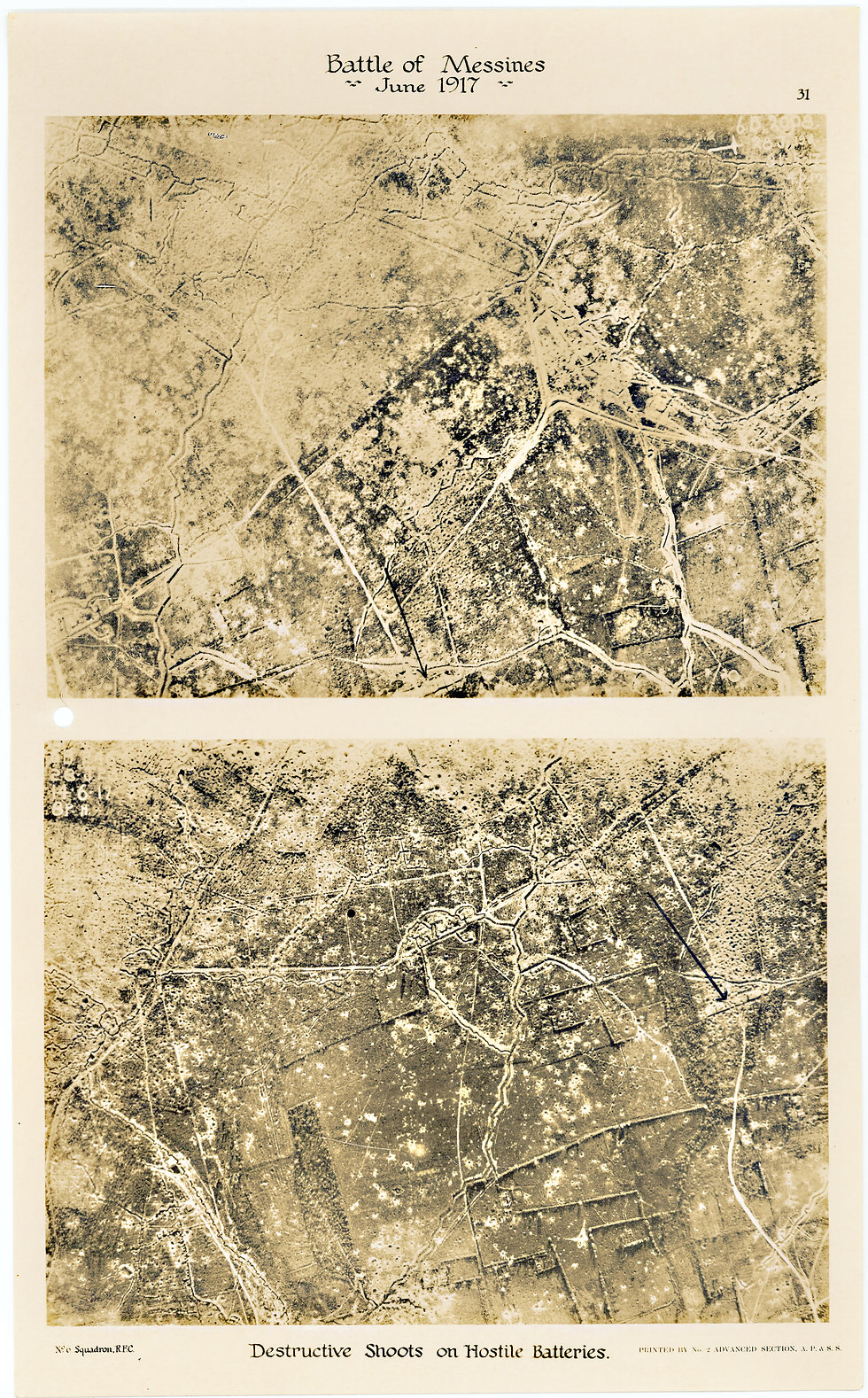 6 Squadron aerial photos of destructive shoot east of Hill 62, taken by 6 Squadron before and after the Battle of Messines, 1917