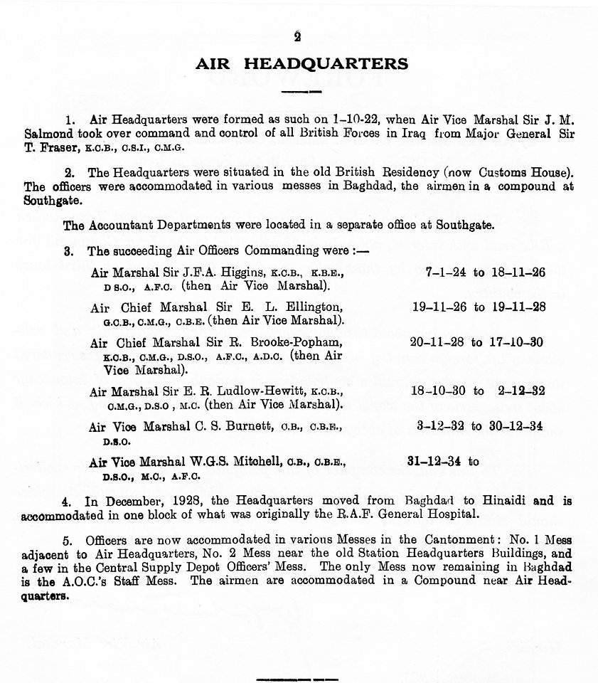 Air Headquarters RAF (Iraq) locations and officers commanding from 01/10/1922 to 1935