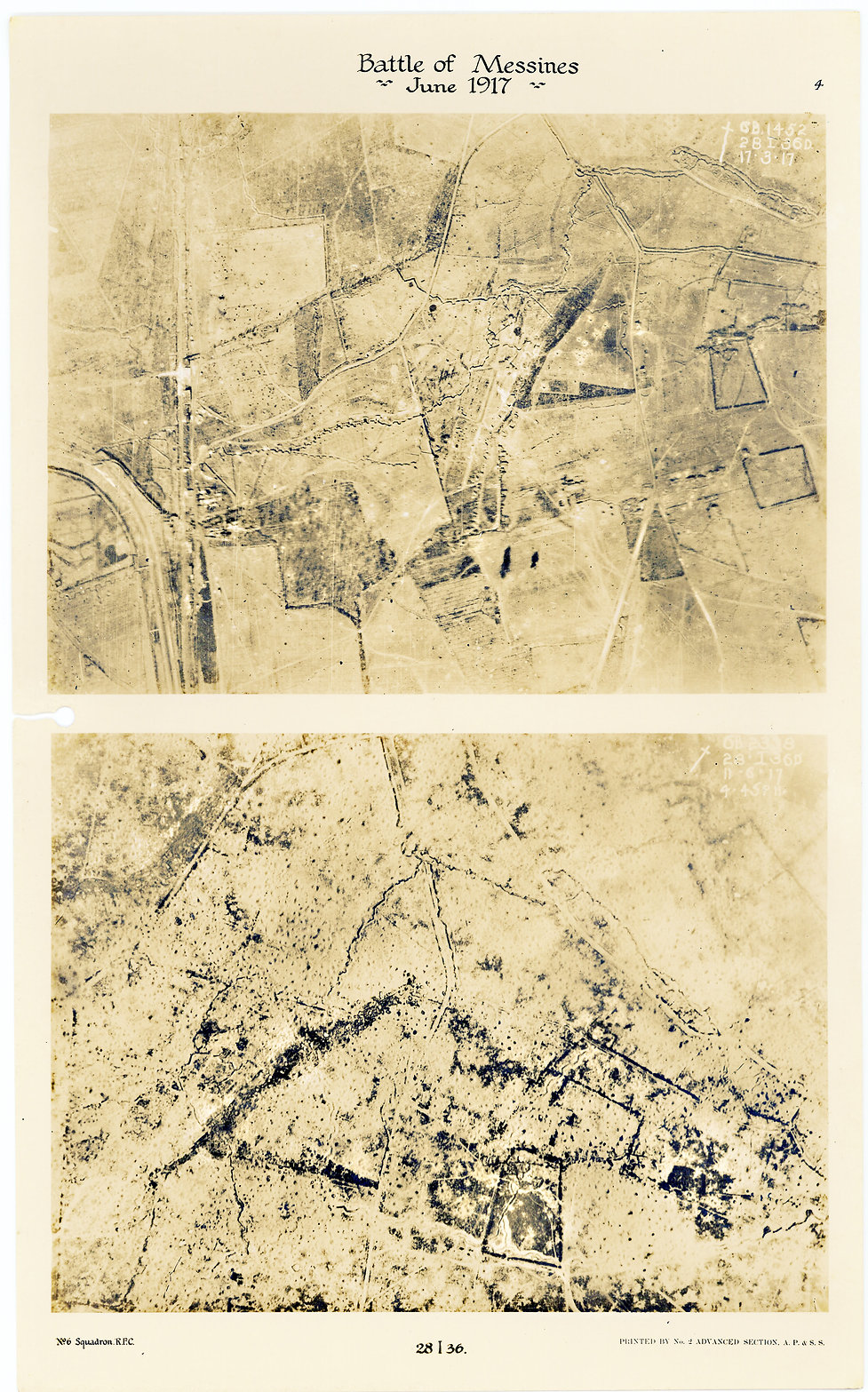 6 Squadron aerial photographs south of Klein Zillebeke, before and after the Battle of Messines