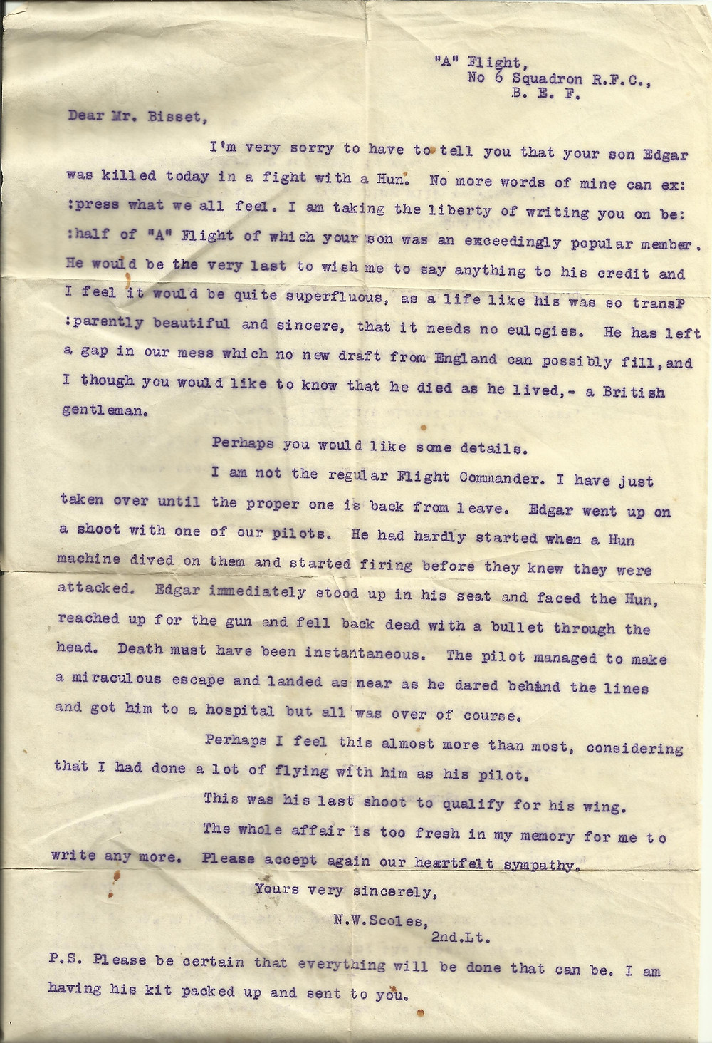 Notification of death of 2nd Lt James Bissett in January 1917, written by the temporary flight commander of A Flight 6 Squadron, 2nd Lt N W Scoles
