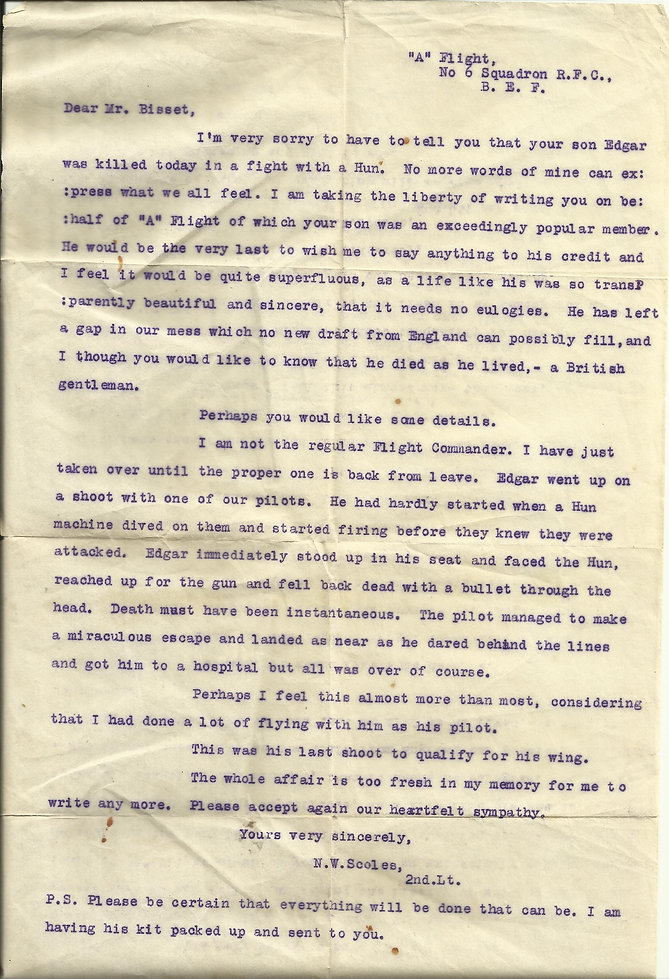 Notification of death letter re 2nd Lt  Edgar Bissett, written by flight commander A Flight 6 Squadron Royal Flying Corps