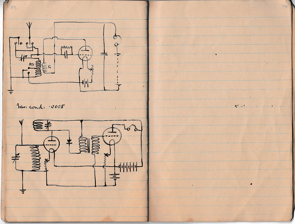 Circuit diagram of a single and dual valve wireless reeiver, in use by the Royal Air Force during 1918