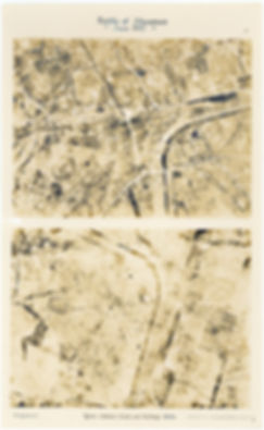 Aerial photos taken by 6 Squadron of a section of the Ypres Commines railway, taken before and after the Battle of Messines, 1917
