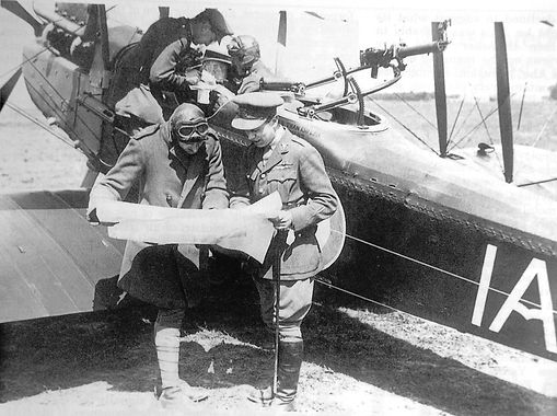 Crew of an RE8 planning a mission