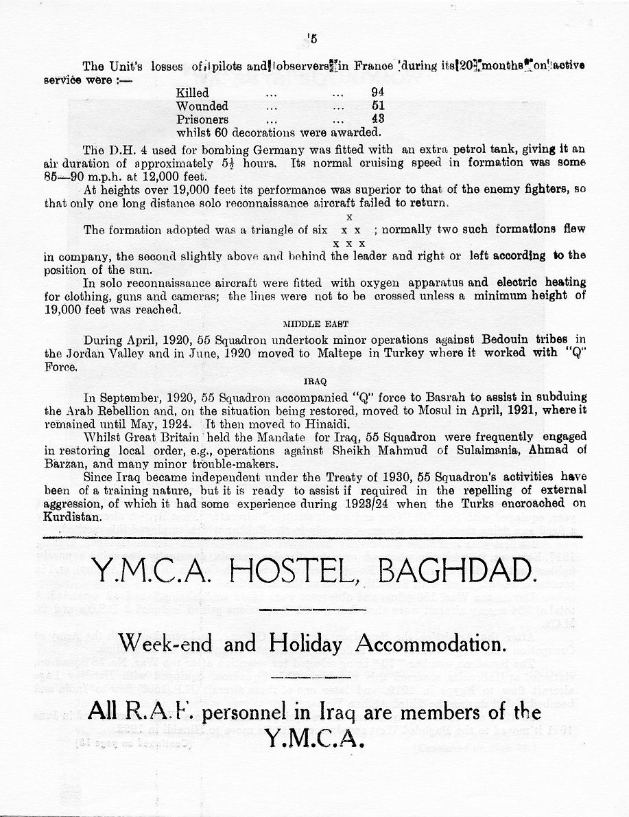 Details of 55 Squadron's involvement in local peace-keeping around Baghdad until Iraq became independent in 1930