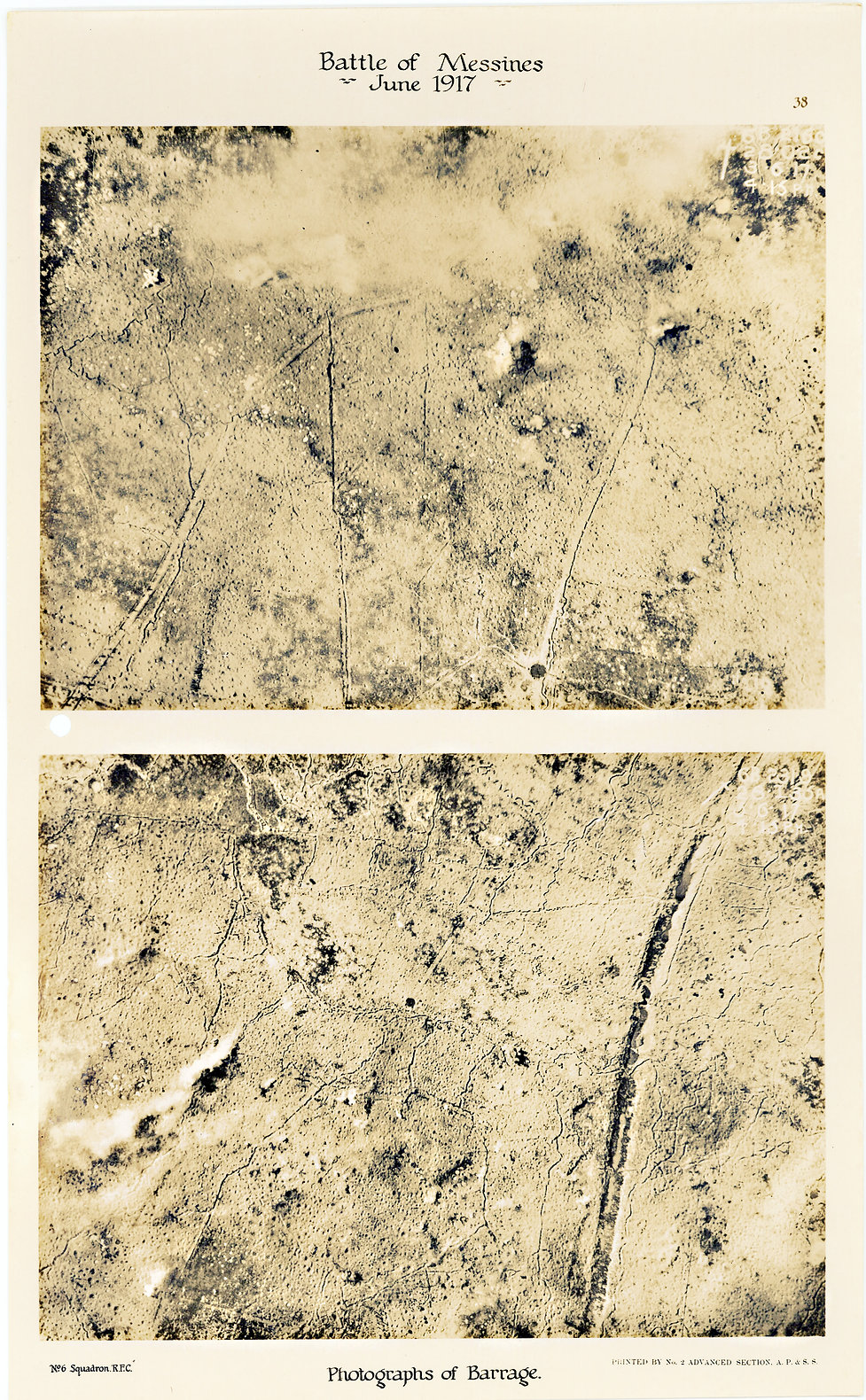 6 Squadron aerial photos of pre-bombardment barrage at Hill 60 taken by 6 Squadron immediately prior to the Battle of Messines, 1917