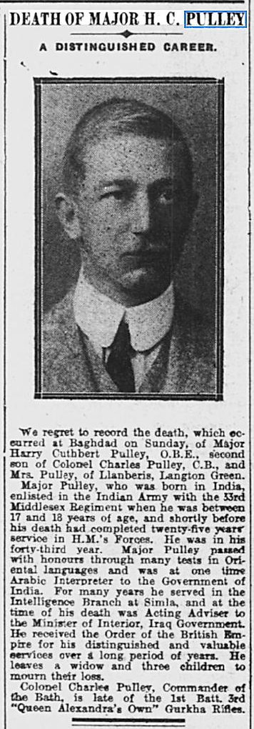This is the death notice for Major Harry Cuthbert Pulley OBE