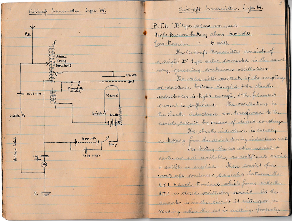 Schematic diagram and training notes for an aircraft Transmitter Type W, as used by the RFC /RAF in the latter part of the Great War