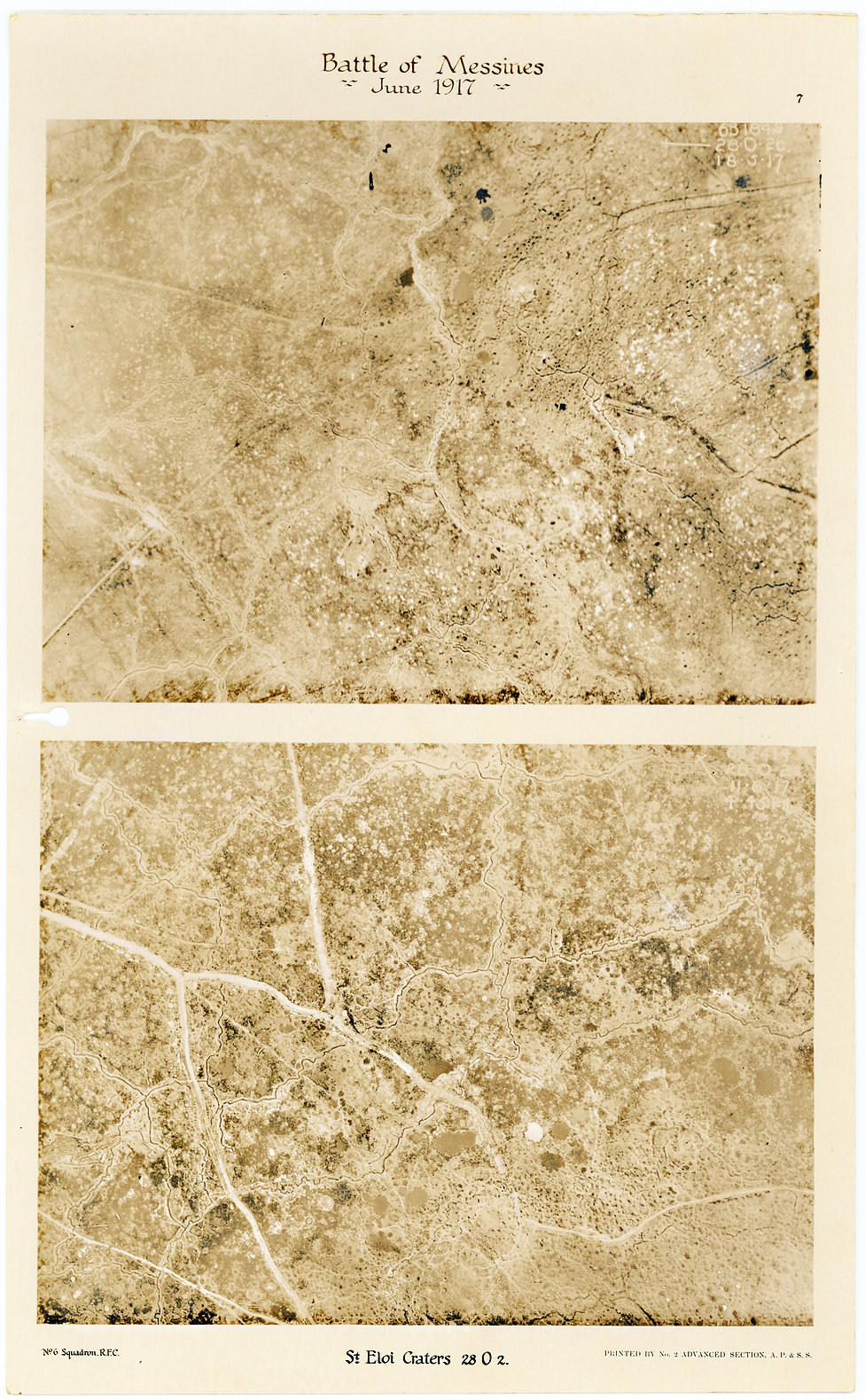 6 Squadron aerial photographs of St Eloi craters, before and after the Battle of Messines in June 1917