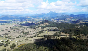 View of Mount Warning Murwillumbah, with home of Steve Buster Johnson circled