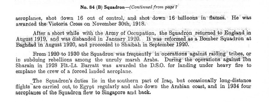 Brief History of 84 Squadron Royal Air Force (1918 to 1935)