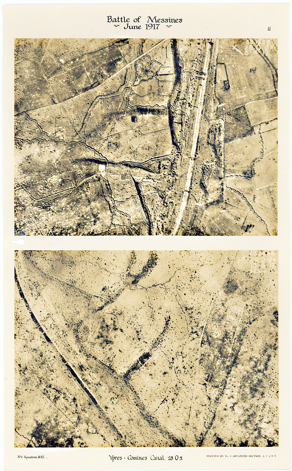 6 Squadron Aerial photos of the Ypres Commines canal, taken before and after the Battle of Messines, 1917