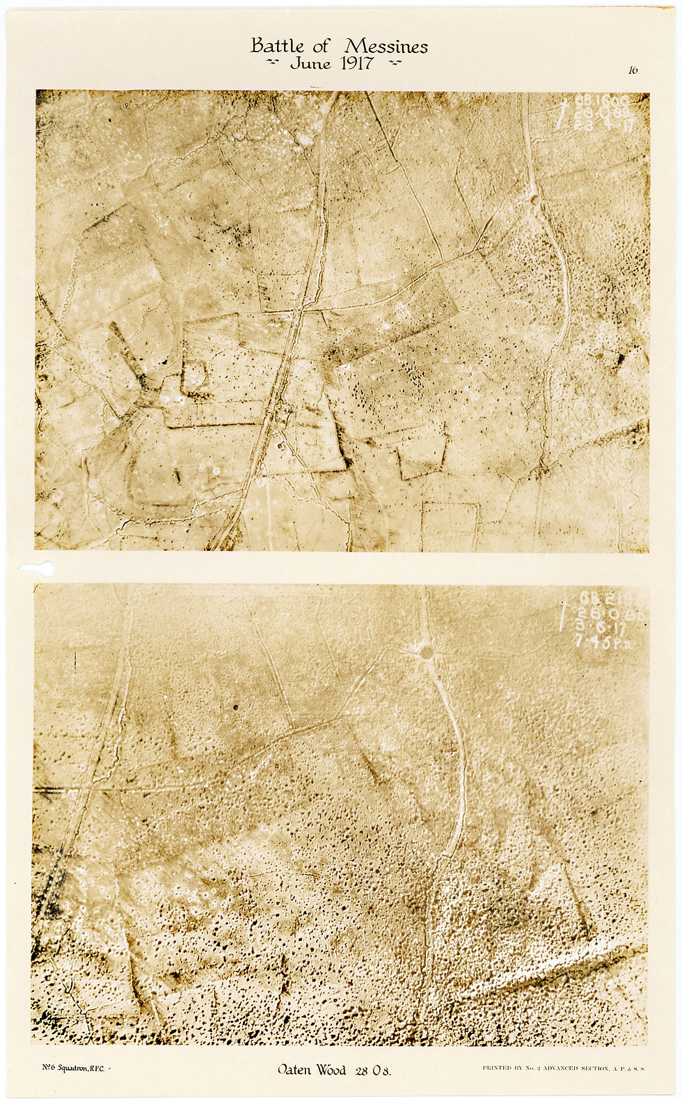 6 Squadron aerial photos of Oaten Wood, taken by 6 Squadron before and after the pre-bombardment at the Battle of Messines, 1917