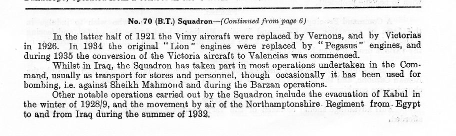 Brief operational account of 70 Squadron (from 1921 to 1935) - Part 2
