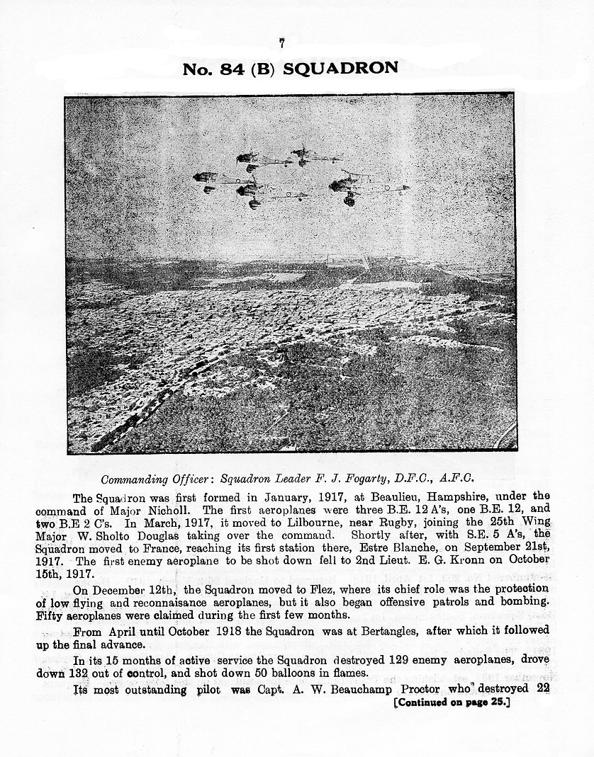 Early history of 84 Squadron, from January 1917 until 1935 when it was based in Iraq (Shaibah)