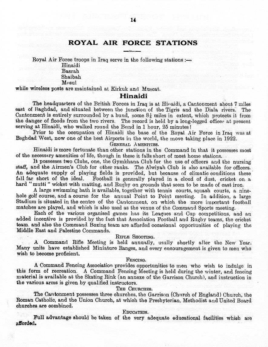 Details of the Royal Air Force Station at Hinaidi