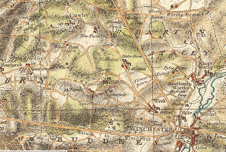 Map of Hampshire - Taylor 1750