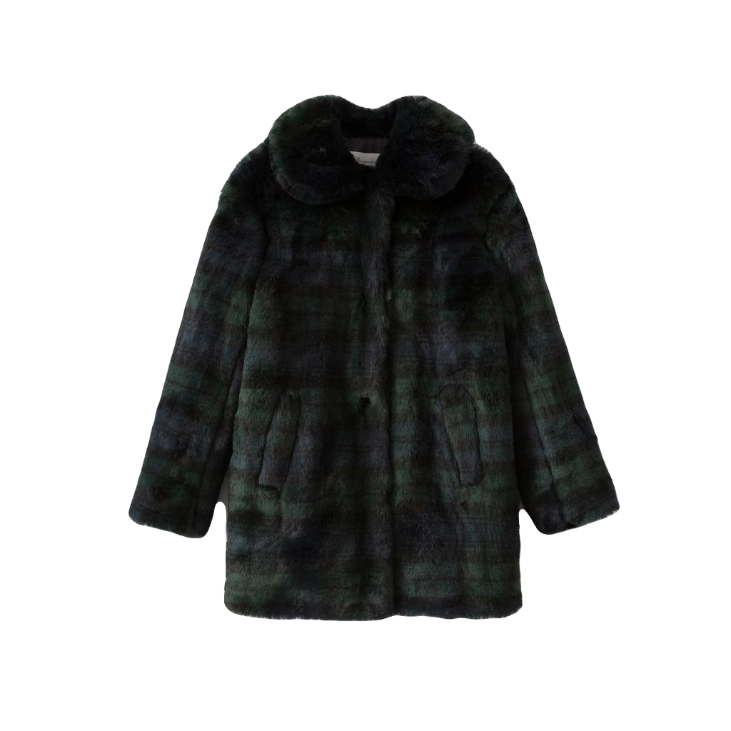 MAISIE GIRLS' FAUX-FUR CHECKED COAT PRUSSIAN BLUE