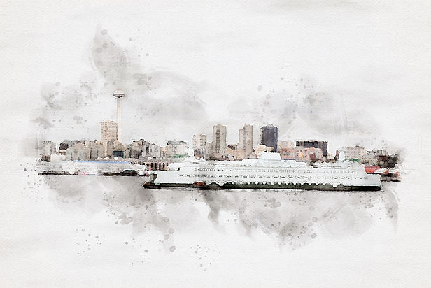 Seattle skyline image rendered into watercolor art.