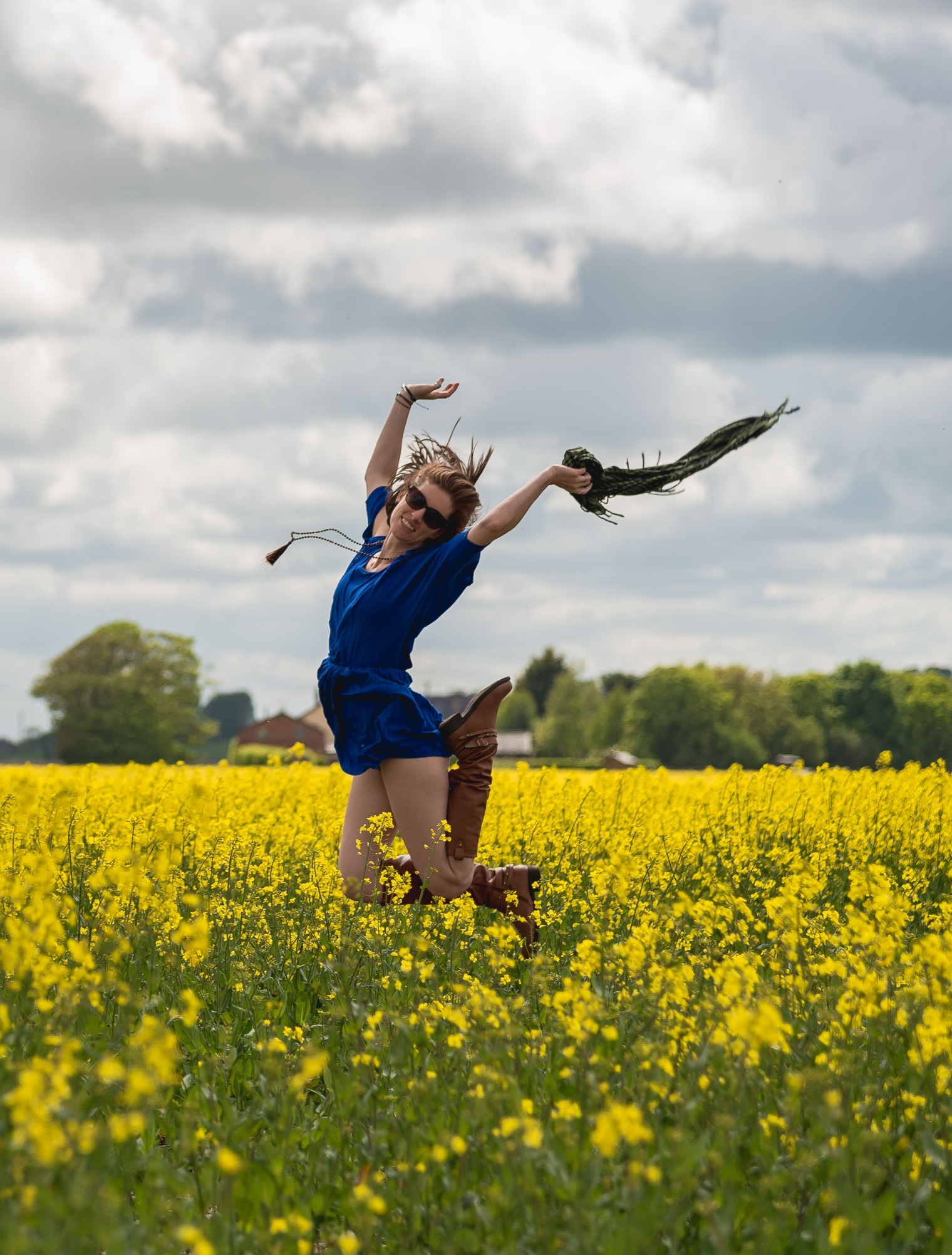 Vegan Liverpool Personal Branding Photographer Jumping in the yellow Fields