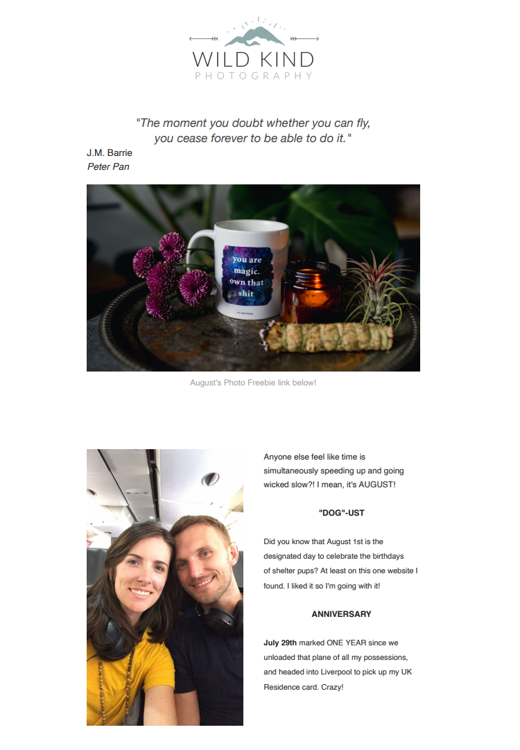 Preview of July's Wild Kind Photography newsletter describing pivot and product updates from Liverpool elopement and branding photographer, Kayleigh King