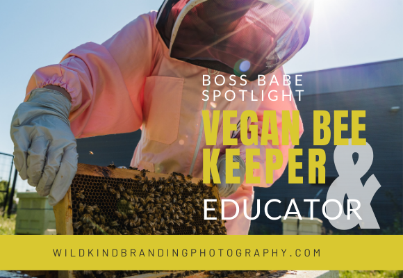 Liverpool female beekeeper checking the hive during her personal branding photography shoot.
