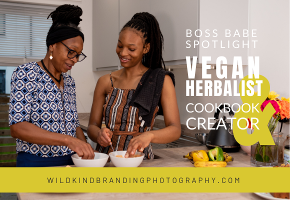 Jamaican mother and daughter cooking Caribbean food in their Liverpool kitchen for their vegan cookbook photoshoot.