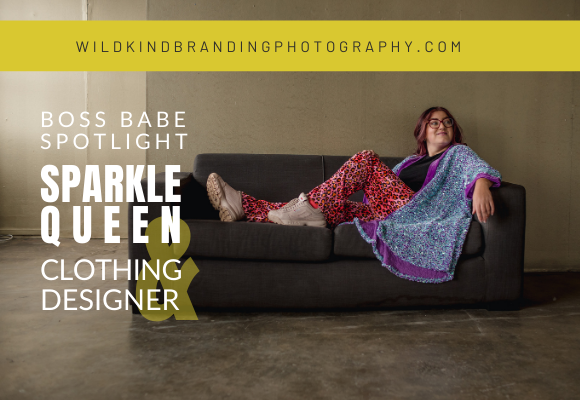 Liverpool Clothing Designer, Millie Sparkles lounging on couch at the Camp and Furnace venue in the Baltic Triangle of Liverpool for her Personal Branding Photoshoot.