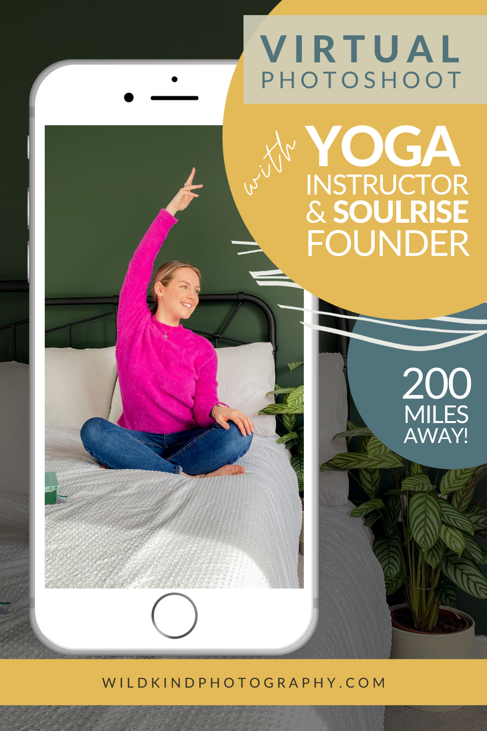 Yoga instructor stretching on bed against dark green wall, posing for her virtual brand photoshoot.