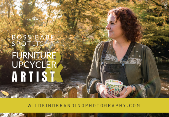 Lancaster furniture upcycler and artist enjoying a tea on the side of the river with brightly colored autumn leaves in the background of her personal branding photoshoot.