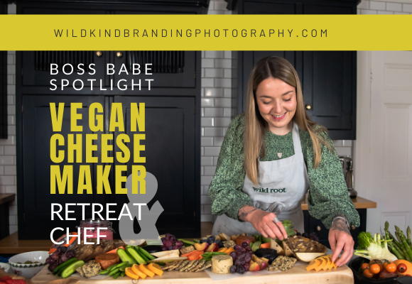 Liverpool vegan retreat chef prepares vegan cheese and graze boards during her personal branding photoshoot.