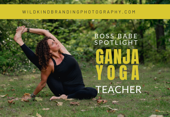 Seattle based ganja yoga instructor doing yoga poses in the forest during her personal branding photography session.