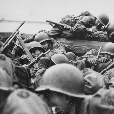 """I drew an assault boat to cross in - just my luck. We all tried to crawl under each other because the lead was flying around like hail."" Crossing the Rhine under enemy fire at Saint Goar, March 1945"""